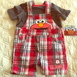"SESAME STREET Red Plaid ""Elmo"" Outfit/ Set"